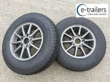 PAIR - CARAVAN TRAILER ALLOY WHEELS ON 185x14 COMMERCIAL TYRES - 5.5Jx14 112 pcd
